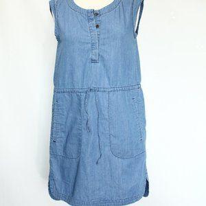 J Crew Chambray Dress Pockets Casual blue